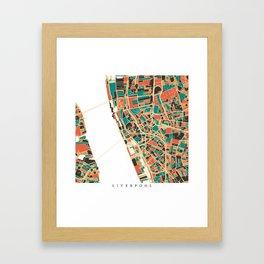 Liverpool City Map - Multicolour Framed Art Print