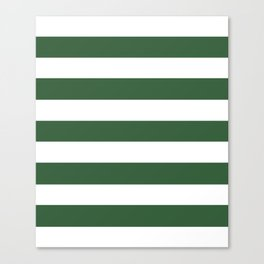 Hunter green -  solid color - white stripes pattern Canvas Print