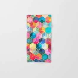 Crystal Bohemian Honeycomb Cubes - colorful hexagon pattern Hand & Bath Towel