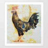 skinny rooster Art Print