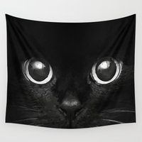 black cat Wall Tapestries featuring Black Cat by Maioriz Home