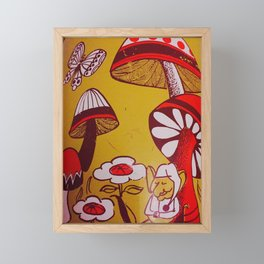 mushrooms and flowers Framed Mini Art Print