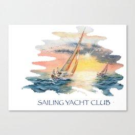 Sailing Yacht Club Blue Words Color Canvas Print