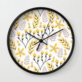 Mod Floral Yellow Gray Wall Clock