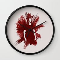 sam winchester Wall Clocks featuring Watercolor Sam Winchester by fairandbright
