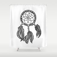 dreamcatcher Shower Curtains featuring Dreamcatcher by Julie Erin Designs