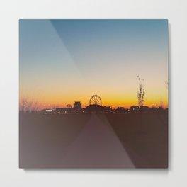 Ferris Wheel Sunset AE Metal Print
