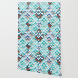 Triangle Pattern No.10 Shifting Turquoise and Orange Wallpaper