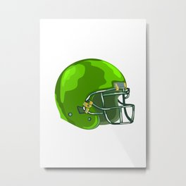 American Football Helmet Green WPA Metal Print