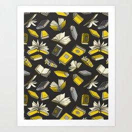Spellbooks, Yellow Art Print