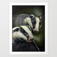 badger Art Prints featuring Badger by Claudia Hahn