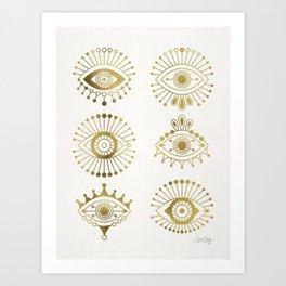 Evil Eyes – Gold Palette Art Print