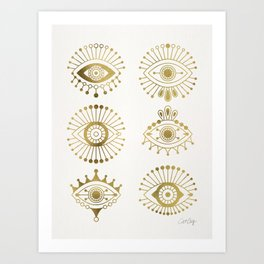 Evil Eyes – Gold Palette Art Print