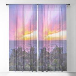 California Dreaming - Brilliant Sunset in Big Sur Sheer Curtain