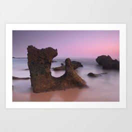 Roche Reefs. Cadiz. At pink Sunset. Spain Art Print