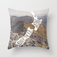 new zealand Throw Pillows featuring NEW ZEALAND by cabin supply co