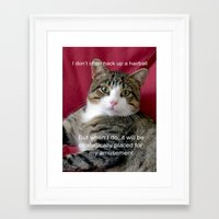 meme Framed Art Prints featuring TJ Meme by Frankie Cat