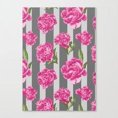 Striped Hot Pink Peony Seamless Pattern Canvas Print