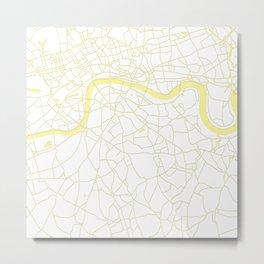 London White on Yellow Street Map Metal Print