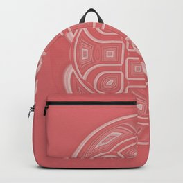 White Circle and Geometric Shapes on Apricot Backpack
