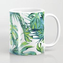 Blue Jungle Leaves, Monstera, Palm #society6 Coffee Mug