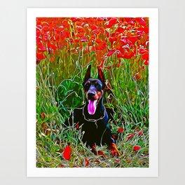doberman dog red flowers meadow vector art Art Print