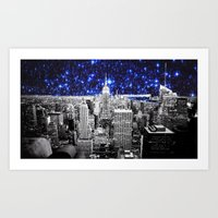 new york city Art Prints featuring new york city. Blue Stars by 2sweet4words Designs