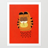 garfield Art Prints featuring Garfield by Jack Teagle