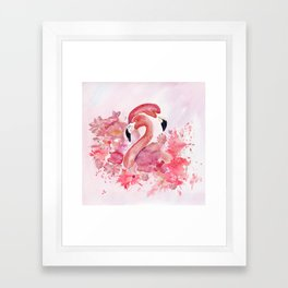 Tropical Birds- Flamingo In LOVE with exotic flowers Framed Art Print