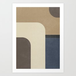Vintage, contemporary art painting, geometric, abstract canvas for home decor, living room walls Art Print