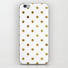 Chic Gold and White Dots iPhone & iPod Skin