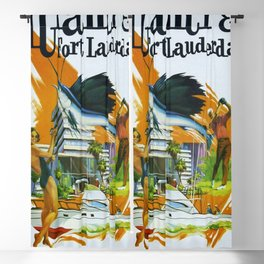 Vintage Fort Lauderdale - Miami, Florida Delta Airlines Advertisement Poster Blackout Curtain