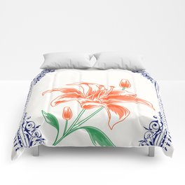 Vintage Orange Flower 4 with Blue Border  Comforters
