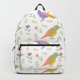 Gouache Pastel Birds with Flowers and Botanicals Backpack