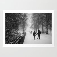 HOLDING HANDS IN THE SNOW Art Print
