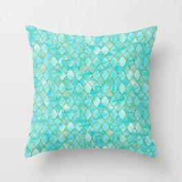 Luxury Aqua Teal and Gold oriental quatrefoil pattern Throw Pillow