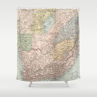 south africa Shower Curtains featuring Vintage Map of South Africa (1892) by BravuraMedia