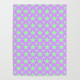 Green Star Pattern on Purple Poster