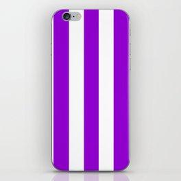Dark violet - solid color - white vertical lines pattern iPhone Skin