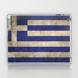 Old and Worn Distressed Vintage Flag of Greece Laptop & iPad Skin