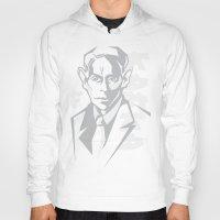 kafka Hoodies featuring Kafka portrait in Greys by aygeartist
