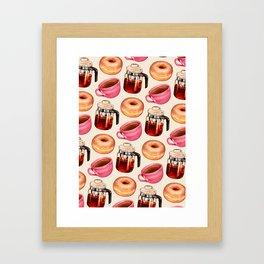 Coffee Donut Percolator Pattern Framed Art Print