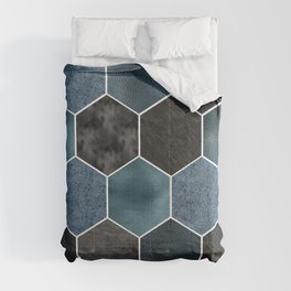Midnight marble hexagons Comforters