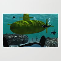yellow submarine Area & Throw Rugs featuring Submarine by nicky2342