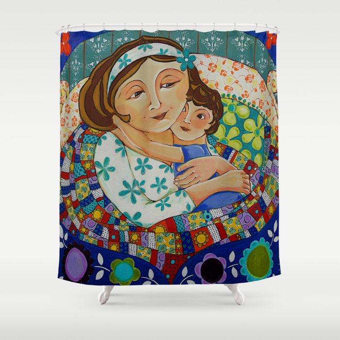 """""""Me, My Son And An Old Blanket"""" Shower Curtain"""