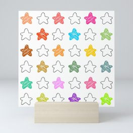 Colorful Collection of Childish Pencil Sketch Stars Artistic Abstract Mini Art Print