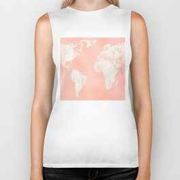 Pink Rose Gold World Map Biker Tank
