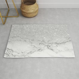 Modern faux grey silver glitter ombre white marble Rug