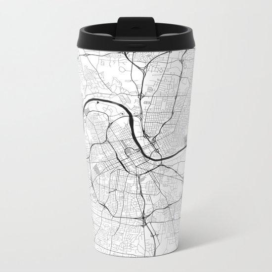 Nashville Map Gray Metal Travel Mug