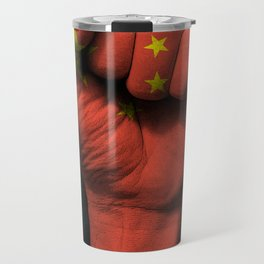 Chinese Flag on a Raised Clenched Fist Travel Mug